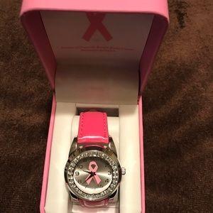 Pink Breast Cancer Awareness Rhinstone Watch